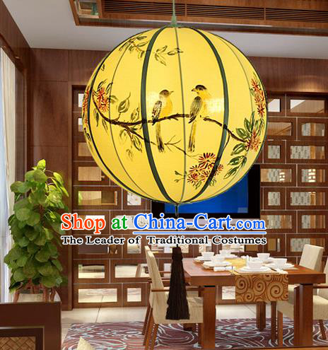 Traditional Chinese Handmade Painting Flowers Birds Cloth Round Palace Lantern China Ceiling Palace Lamp