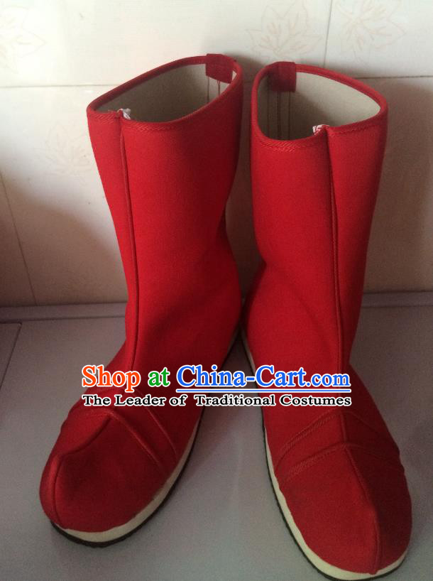 Traditional Chinese Ancient Peking Opera Takefu Red Boots, China Handmade Swordsman Hanfu Embroidery Shoes for Men