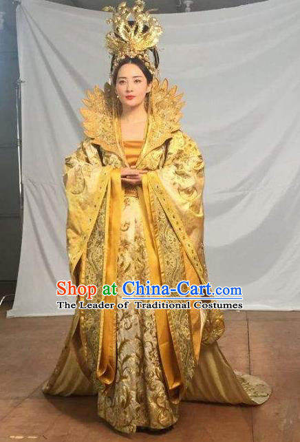 Traditional Ancient Chinese Tang Dynasty Imperial Empress Queen Embroidered Tailing Dress Costume and Headpiece Complete Set for Women