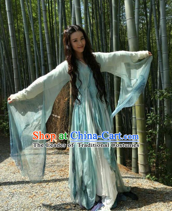 Traditional Ancient Chinese Tang Dynasty Fairy Palace Princess Embroidered Costume for Women