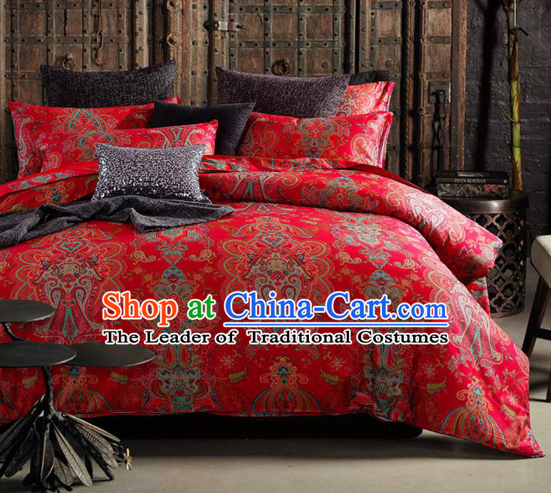 Traditional Chinese Style Wedding Bedding Set, China National Marriage Printing Red Satin Textile Bedding Sheet Quilt Cover Four-piece suit