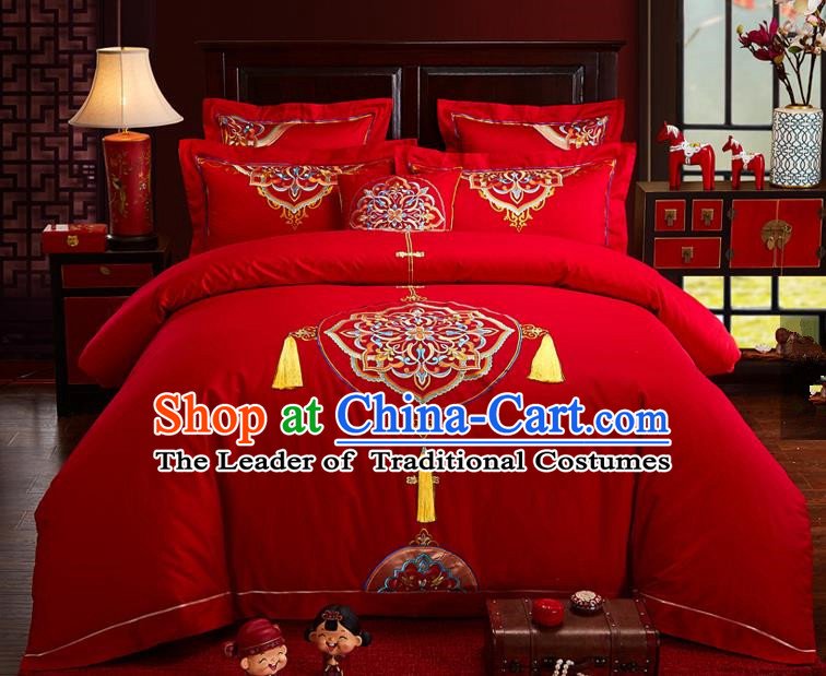 Traditional Chinese Style Wedding Bedding Set, China National Marriage Embroidery Flowers Red Textile Bedding Sheet Quilt Cover Seven-piece suit