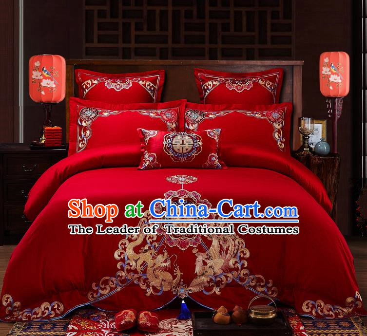 Traditional Chinese Style Wedding Bedding Set, China National Marriage Embroidery Dragon and Phoenix Red Textile Bedding Sheet Quilt Cover Seven-piece suit