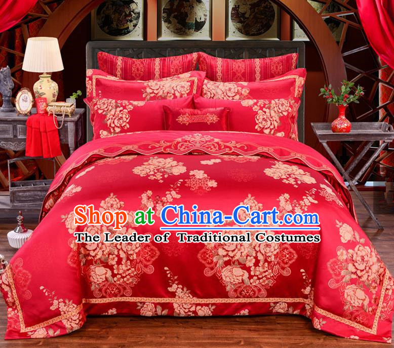 Traditional Chinese Style Marriage Printing Flowers Bedding Set Wedding Celebration Red Satin Drill Textile Bedding Sheet Quilt Cover Ten-piece Suit