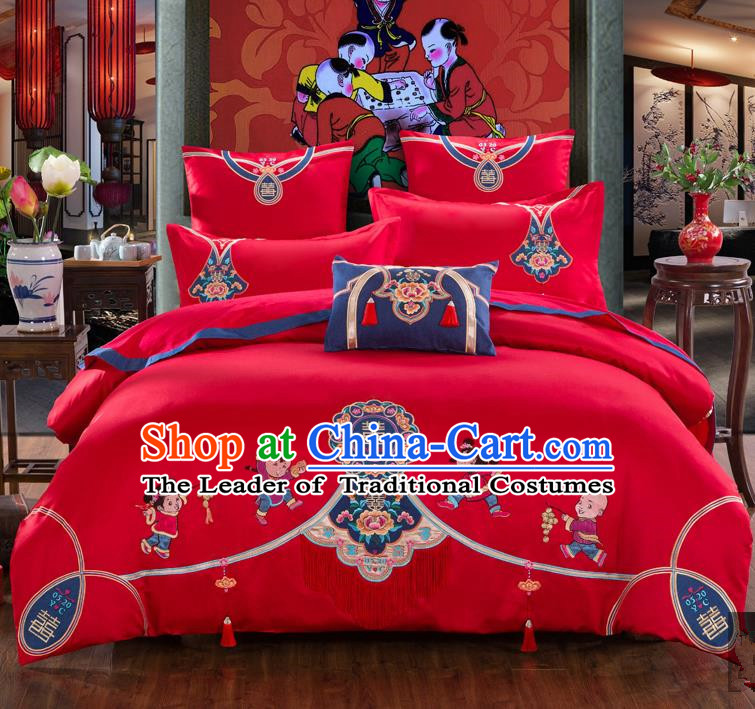 Traditional Chinese Style Wedding Bedding Set, China National Marriage Printing Children Red Textile Bedding Sheet Quilt Cover Seven-piece suit