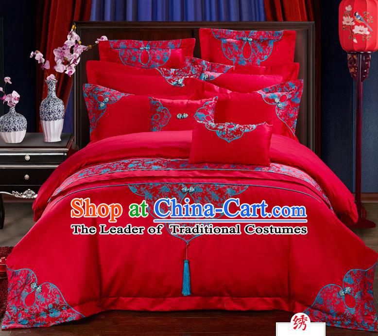 Traditional Chinese Style Marriage Bedding Set, China National Embroidered Wedding Red Textile Bedding Sheet Quilt Cover Four-piece suit