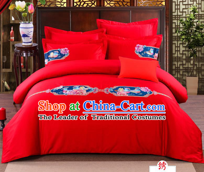 Traditional Chinese Style Marriage Bedding Set, China National Embroidered Mandarin Duck Wedding Red Textile Bedding Sheet Quilt Cover Four-piece suit