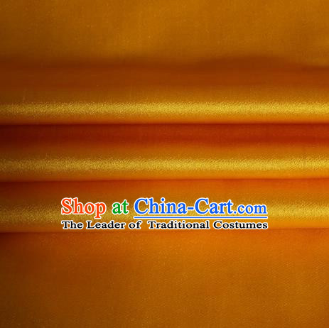 Chinese Traditional Costume Royal Palace Yellow Satin Brocade Fabric, Chinese Ancient Clothing Drapery Hanfu Cheongsam Material
