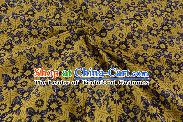 Chinese Traditional Costume Royal Palace Jacquard Weave Yellow Fabric, Chinese Ancient Clothing Drapery Hanfu Cheongsam Material