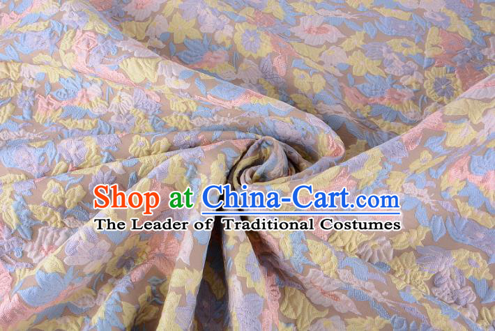 Chinese Traditional Costume Royal Palace Flowers Pattern Brocade Fabric, Chinese Ancient Clothing Drapery Hanfu Cheongsam Material