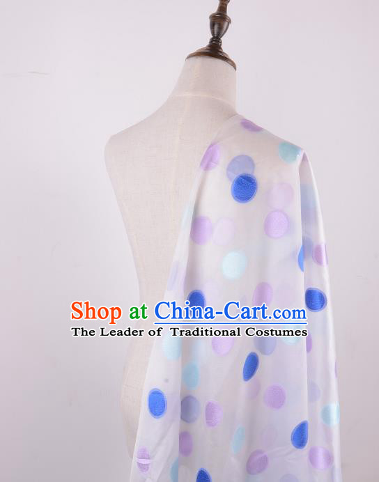 Chinese Traditional Costume Royal Palace Pattern White Brocade Fabric, Chinese Ancient Clothing Drapery Hanfu Cheongsam Material
