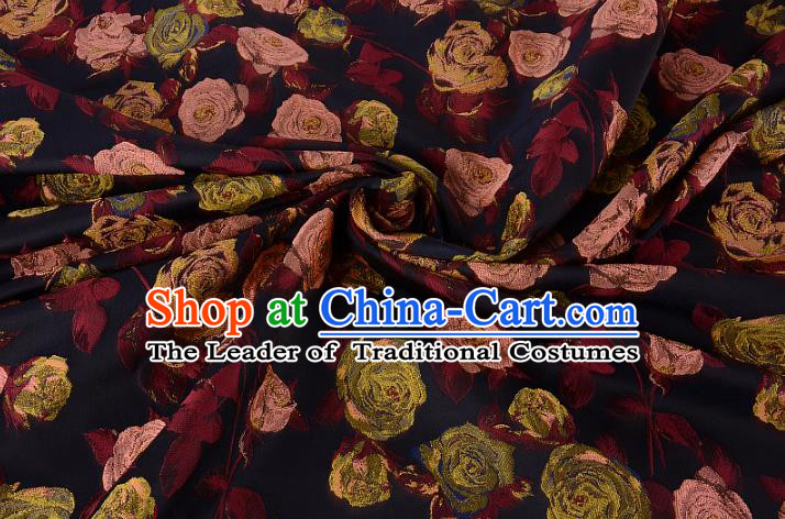 Chinese Traditional Costume Royal Palace Printing Rose Brocade Fabric, Chinese Ancient Clothing Drapery Hanfu Cheongsam Material
