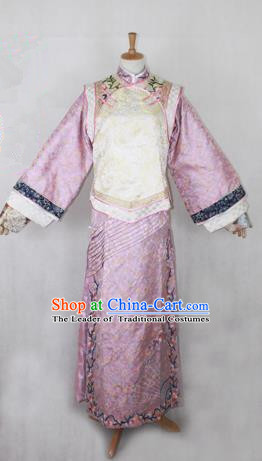 Traditional Ancient Chinese Imperial Consort Costume, Chinese Qing Dynasty Manchu Dress, Cosplay Chinese Mandchous Imperial Princess Clothing for Women