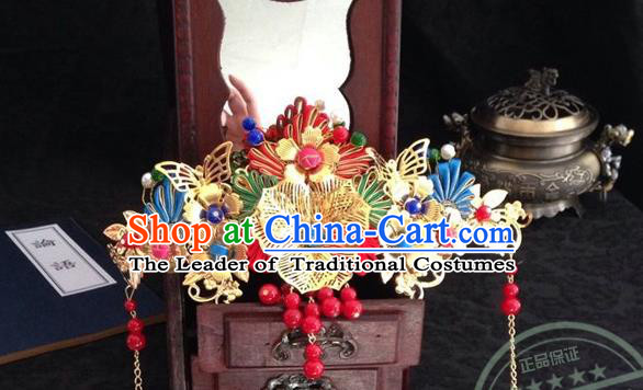 Chinese Wedding Jewelry Accessories Traditional Xiuhe Suits Wedding Bride Headwear Phoenix Coronet Wedding Tiara Ancient Chinese Pearl Harpins for Women