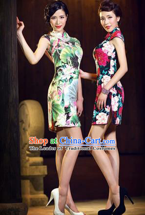 Traditional Chinese Female Costumes Chinese Ancient Clothes Chinese Silk Lotus Cheongsam Tang Suits Dress for Women