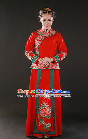 Traditional Ancient Chinese Costume Xiuhe Suits Chinese Wedding Dress Red Ancient Women Dragon and Phoenix Flown Bride Toast Cheongsam
