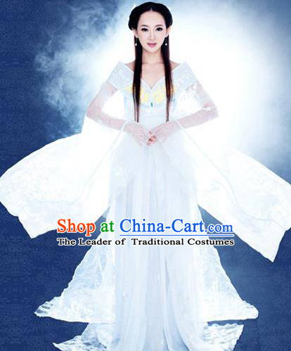 Traditional Ancient Chinese Costume, Elegant Hanfu Fairy Clothing, Chinese Imperial Princess White Clothing for Women