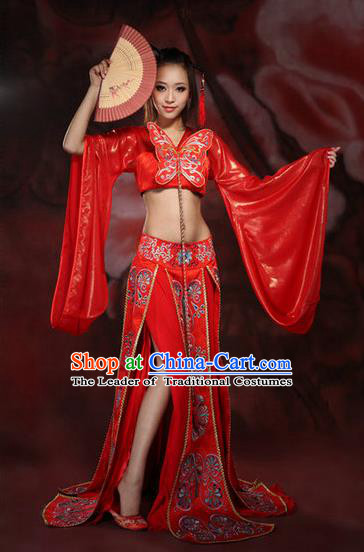 Traditional Ancient Chinese Imperial Consort Red Costume, Elegant Hanfu Clothing Chinese Tang Dynasty Imperial Emperess Sexy Tailing Embroidered Clothing for Women