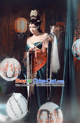 Traditional Ancient Chinese Imperial Consort Costume, Elegant Tube Hanfu Dress Clothing Chinese Tang Dynasty Imperial Emperess Tailing Clothing for Women