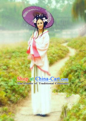 Traditional Ancient Chinese Imperial Princess Costume, Elegant Hanfu Clothing Chinese Tang Dynasty Young Lady Embroidered Clothing for Women