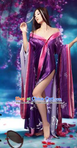 Traditional Ancient Chinese Imperial Consort Sexy Costume, Elegant Hanfu Clothing Chinese Tang Dynasty Imperial Emperess Tailing Purple Clothing for Women