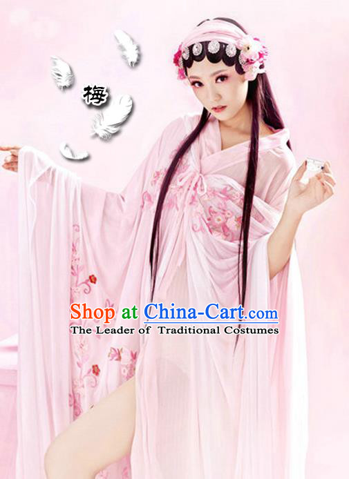 Traditional Ancient Chinese Peking Opera Imperial Consort Costume, Elegant Hanfu Clothing Chinese Tang Dynasty Imperial Emperess Embroidered Plum Blossom Clothing for Women