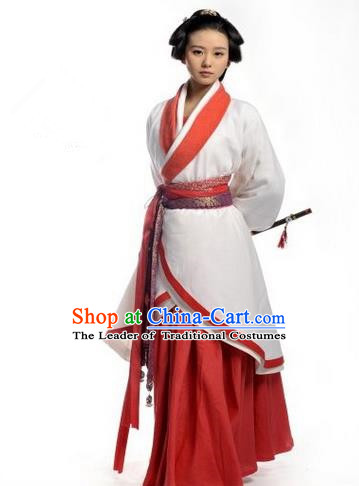 Traditional Ancient Chinese Imperial Consort Costume Set, Elegant Hanfu Swordsman Clothing Chinese Han Dynasty Imperial Queen Tailing Embroidered Clothing for Women