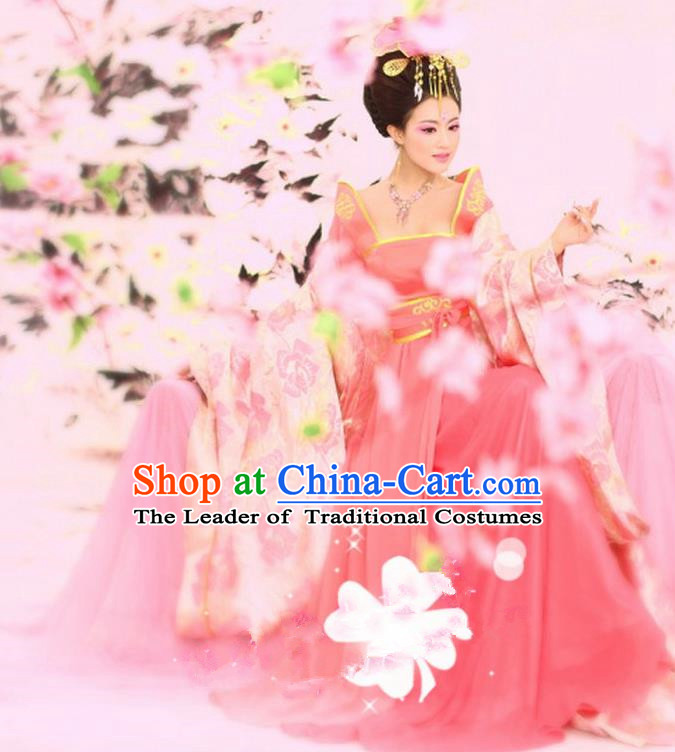 Traditional Ancient Chinese Imperial Consort Costume, Elegant Hanfu Clothing Chinese Tang Dynasty Imperial Empress Tailing Embroidered Peony Clothing for Women