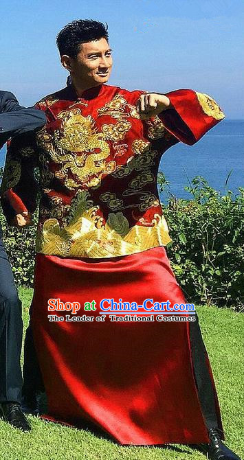 Traditional Ancient Chinese Costume Chinese Style Tang Suit Wedding Red Dress Ancient Long Embroidered Dragon Flown Mandarin Jacket Groom Toast Clothing for Men