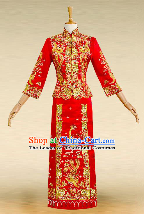 Traditional Ancient Chinese Costume Nail Bead Xiuhe Suits, Chinese Style Wedding Bride Full Dress, Restoring Ancient Women Red Embroidered Dragon and Phoenix Slim Flown, Bride Toast Cheongsam for Women