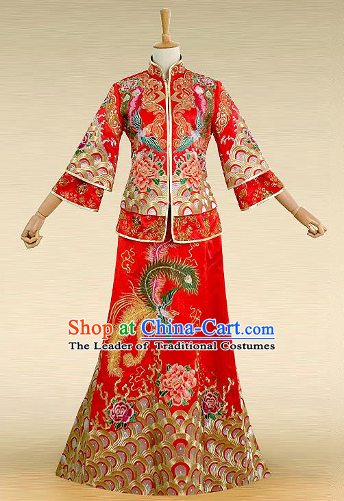 Traditional Ancient Chinese Costume Hot Fix Rhinestone Xiuhe Suits, Chinese Style Wedding Bride Full Dress, Restoring Ancient Women Red Embroidered Dragon and Phoenix Slim Fishtail Flown, Bride Toast Cheongsam for Women