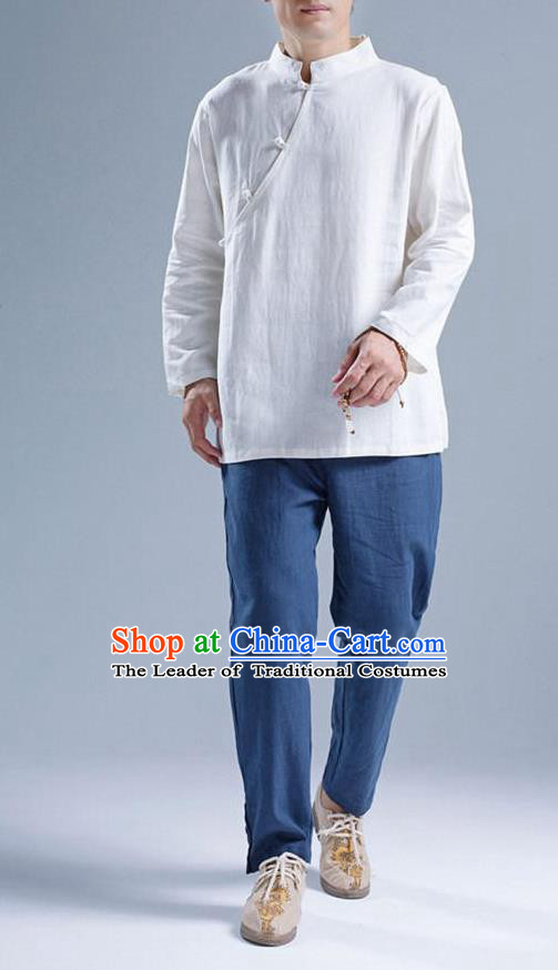 Top Chinese National Tang Suits Flax Frock Costume, Martial Arts Kung Fu Slant Opening White Blouse, Kung fu Plate Buttons Unlined Upper Garment, Chinese Taichi Shirts Wushu Clothing for Men