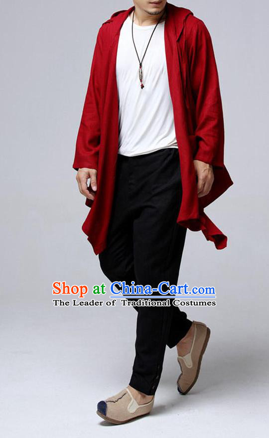 Top Chinese National Tang Suits Flax Frock Costume, Martial Arts Kung Fu Red Hooded Cardigan, Kung fu Plate Buttons Unlined Upper Garment, Chinese Taichi Dust Coats Wushu Clothing for Men