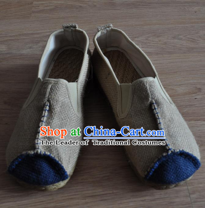 Traditional Top Chinese National Flax Frock Shoes, Martial Arts Kung Fu Rattan Plaited Beige Cloth Shoes, Kung fu Chinese Taichi Shoes for Men