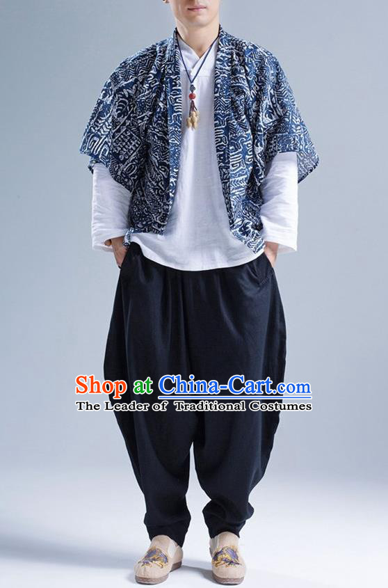 Traditional Top Chinese National Tang Suits Linen Frock Costume, Martial Arts Kung Fu Printing Batik Cardigan, Kung fu Thin Upper Outer Garment, Chinese Taichi Thin Coats Wushu Clothing for Men
