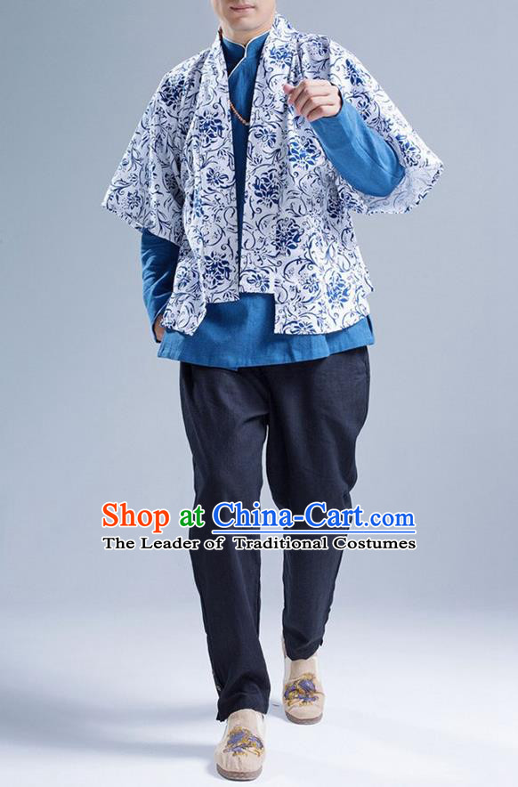 Traditional Top Chinese National Tang Suits Linen Frock Costume, Martial Arts Kung Fu Printing Blue-and-White Cardigan, Kung fu Thin Upper Outer Garment, Chinese Taichi Thin Coats Wushu Clothing for Men