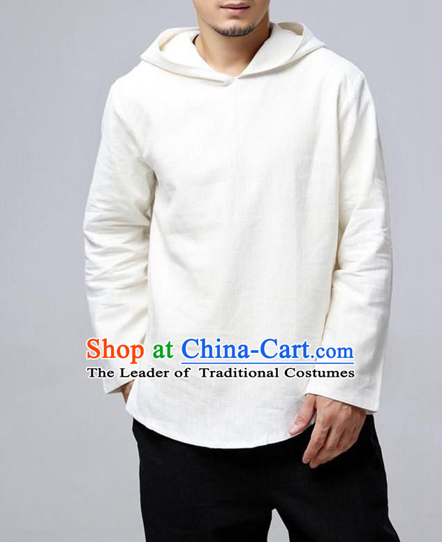 Traditional Top Chinese National Tang Suits Linen Frock Costume, Martial Arts Kung Fu Long Sleeve White Hooded T-Shirt, Kung fu Upper Outer Garment, Chinese Taichi Shirts Wushu Clothing for Men