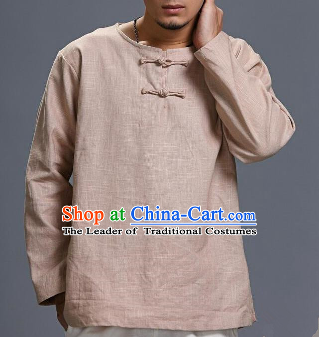 Traditional Top Chinese National Tang Suits Linen Frock Costume, Martial Arts Kung Fu Long Sleeve Beige T-Shirt, Kung fu Plate Buttons Upper Outer Garment, Chinese Taichi Shirts Wushu Clothing for Men