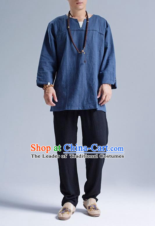 Traditional Top Chinese National Tang Suits Linen Frock Costume, Martial Arts Kung Fu Long Sleeve Deep Blue T-Shirt, Kung fu Upper Outer Garment, Chinese Taichi Shirts Wushu Clothing for Men