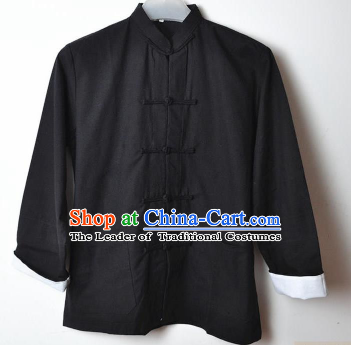 Traditional Top Chinese National Tang Suits Linen Costume, Martial Arts Kung Fu Front Opening Black Coats, Kung fu Plate Buttons Jacket, Chinese Taichi Short Coats Wushu Clothing for Men