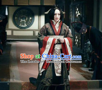 Traditional Top Chinese Ancient Imperial Empress Costume, Elegant Phoenix Hanfu Dress Chinese Qin Dynasty Imperial Empress Dowager Tailing Embroidered Clothing for Women