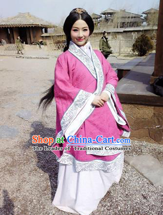 Traditional Top Chinese Ancient Imperial Consort Costume, Elegant Young Lady Hanfu Pink Dress Chinese Qin Dynasty Imperial Princess Embroidered Tailing Clothing for Women