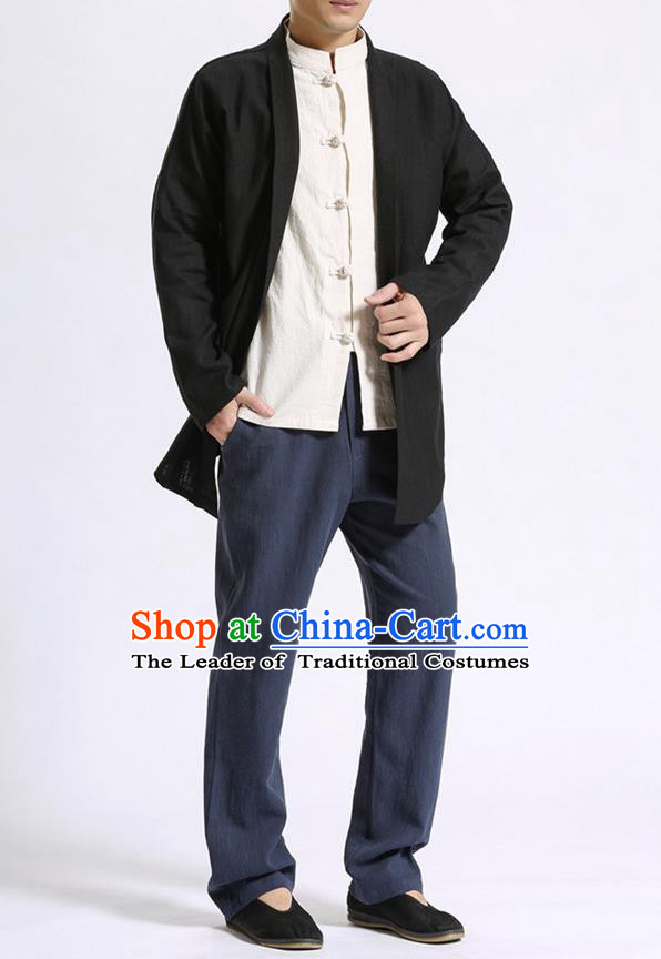Traditional Top Chinese National Tang Suits Linen Costume, Martial Arts Kung Fu Black Cardigan, Chinese Kung fu Thin Upper Outer Garment Overcoats, Chinese Taichi Thin Coats Wushu Clothing for Men