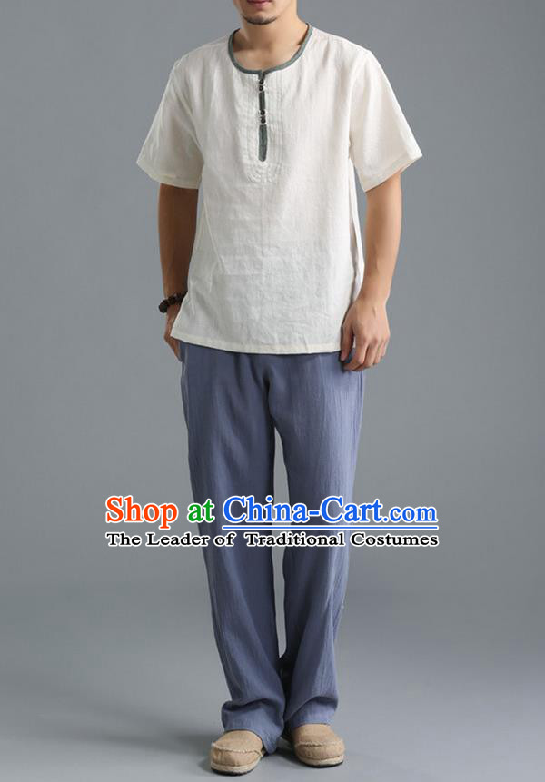 Traditional Top Chinese National Tang Suits Linen Costume, Martial Arts Kung Fu Short Sleeve White T-Shirt, Chinese Kung fu Upper Outer Garment Blouse, Chinese Taichi Thin Shirts Wushu Clothing for Men