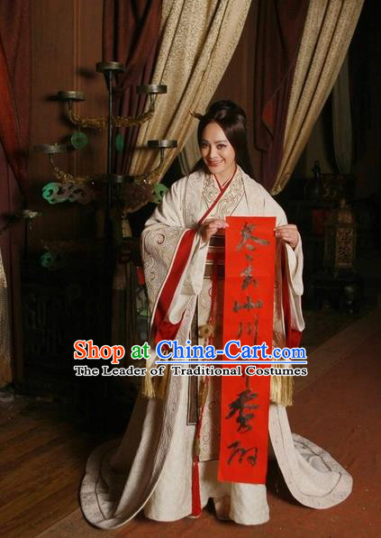 Traditional Ancient Chinese Imperial Consort Costume, Elegant Hanfu Orphrey Dress Chinese Qin Dynasty Imperial Concubine Elegant Tailing Embroidered Clothing for Women