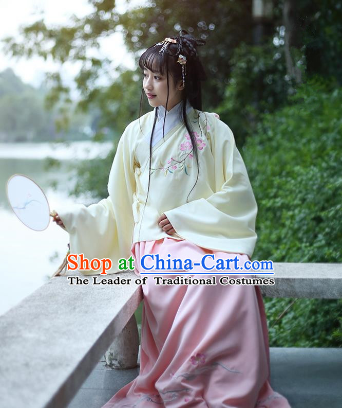 Traditional Ancient Chinese Female Costume Blouse and Dress Complete Set, Elegant Hanfu Clothing Chinese Ming Dynasty Palace Lady Embroidered Peach Blossom Clothing for Women