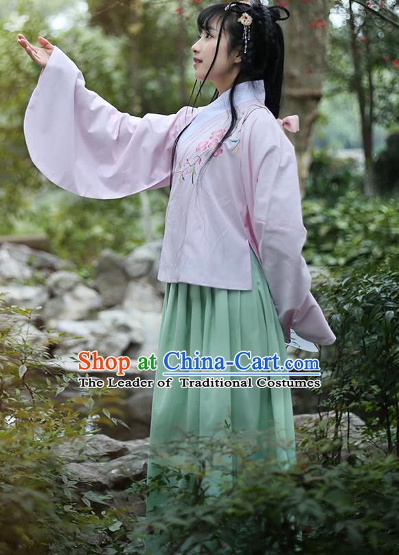 Traditional Ancient Chinese Female Costume Blouse and Skirt Complete Set, Elegant Hanfu Clothing Chinese Ming Dynasty Palace Lady Embroidered Peach Blossom Pink Clothing for Women