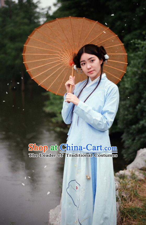 Traditional Ancient Chinese Female Costume Blouse and Skirt Complete Set, Elegant Hanfu Clothing Chinese Ming Dynasty Palace Lady Embroidered Orchid Clothing for Women
