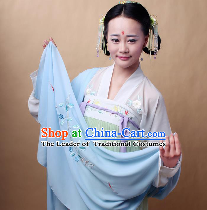 Traditional Ancient Chinese Female Costume Cardigan Wide Cappa, Elegant Hanfu Brocade Scarf Chinese Ming Dynasty Palace Lady Embroidered Semen Cassiae Wearing Silks Clothing for Women