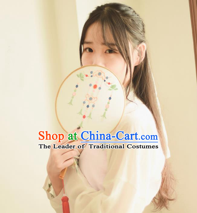 Traditional Ancient Chinese Palace Lady Embroidered Jasmine Flower Dance Round Fans for Women